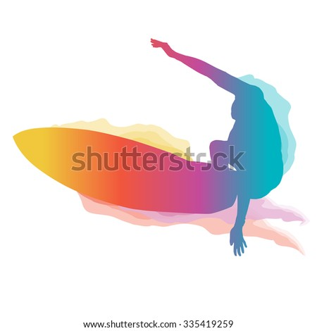 surfer silhouette riding a big