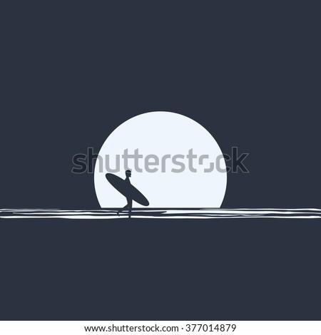 surfer silhouette walking in