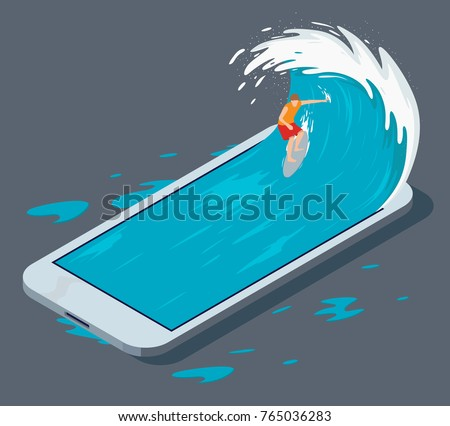 Surfer surfing a phone wave vector illustration. Surfing the web design concept