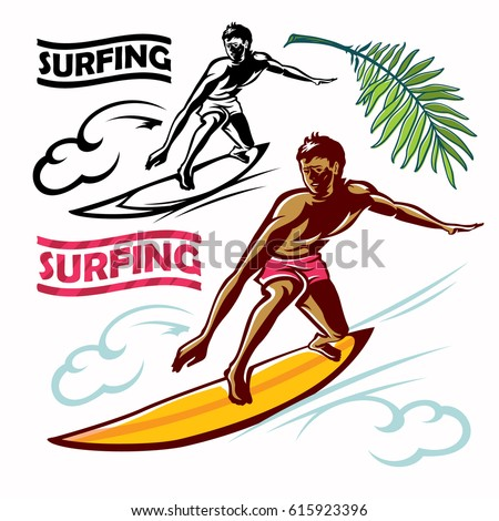 surfer vector man new wave and