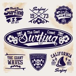 surfer vector set - vector label set. apparel.
