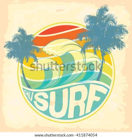 surfer vector setvintage surf