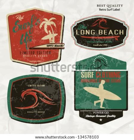 surfer vector set.vintage surf elements.vector retro surf label set.