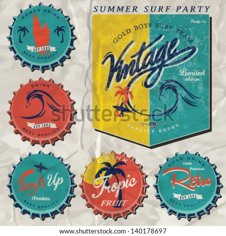 surfer vector set.vintage surf elements.vector retro surf label set.Various Bottle Cap Collection in Retro Style