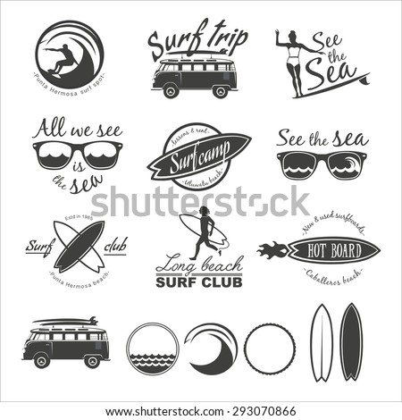 surfer vector set vintage surf