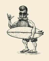 Surfer with a beard, a mustache, sunglasses and a surfboard. Engraving Linocut Style. Vector Illustration.