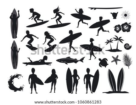 surfers silhouettes set men