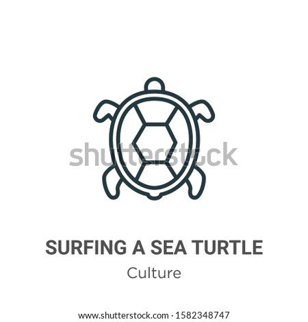 surfing a sea turtle outline