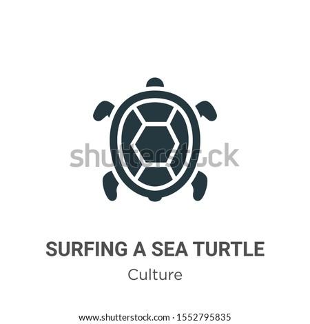 surfing a sea turtle vector