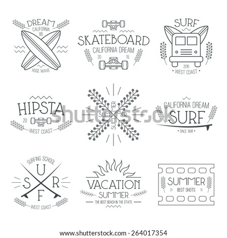 Surfing and vacation emblem in thin line style Graphic design for t-shirt Black print on a white background