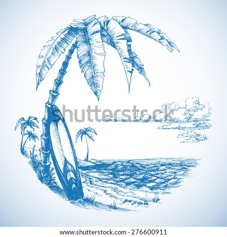 surfing background  palm trees