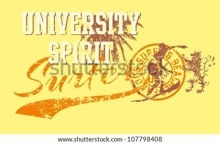 surfing beach - stock vector