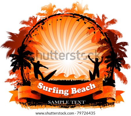 Surfing beach background