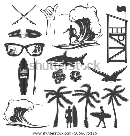 surfing black icon set with