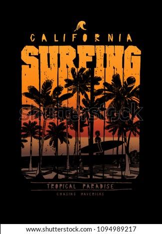 surfing california palm beach chase the mavericks vintage typography t-shirt print