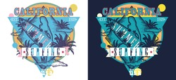 Surfing. California. Surf woman and palm tree t-shirt design