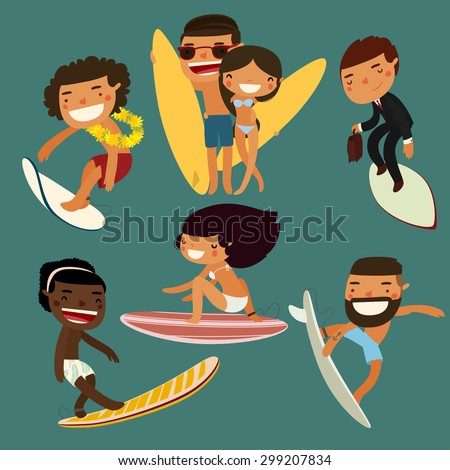 surfing character set cute