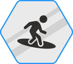 Surfing Concept Vector Blue Color Icon Design, Pool and beach safety rules on white background, wave rider Symbol, Swimming Sports hexagon signboard mockup stock illustration