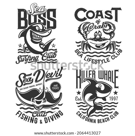 Surfing, diving and fishing t shirt prints, waves of sea and ocean, vector icons. Surf, dive and fisher club emblem of shark, crab and killer whale, summer beach adventure and marine sport t-shirts