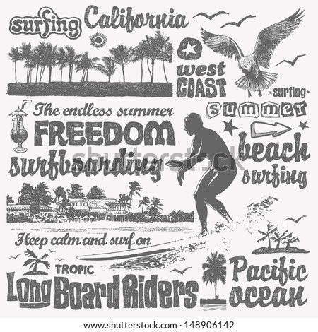 surfing doodles set  hand drawn