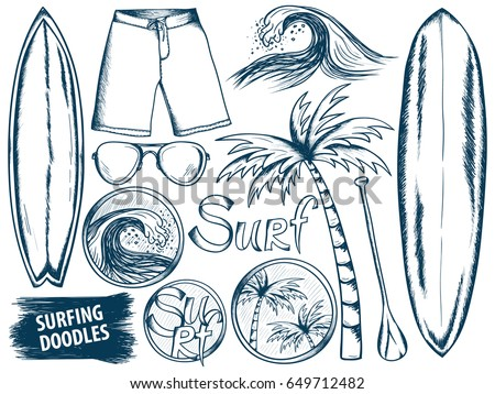 surfing doodles summer