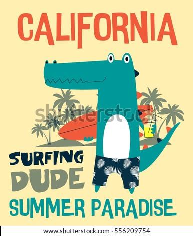surfing dude crocodile designt