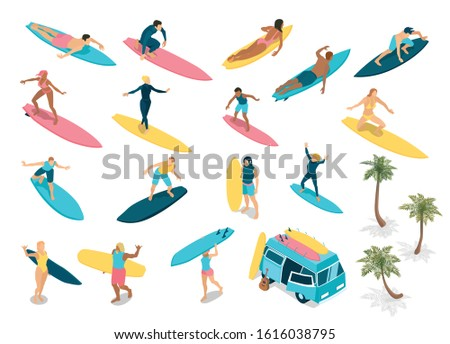 Surfing isometric icons set with experienced riders techniques beginners camper bus for surfboards palms isolated vector illustration