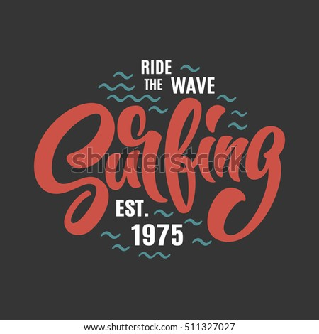 Surfing lettering vector print illustration