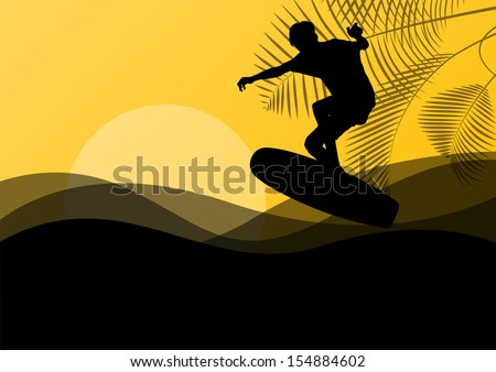 Surfing man active sport silhouette in ocean water background illustration vector