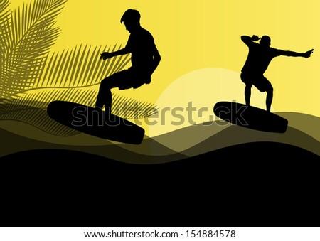 Surfing men active sport silhouettes in ocean water background illustration vector
