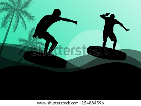 Surfing men active sport silhouettes in ocean water background illustration vector