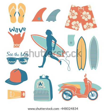 surfing objects set with