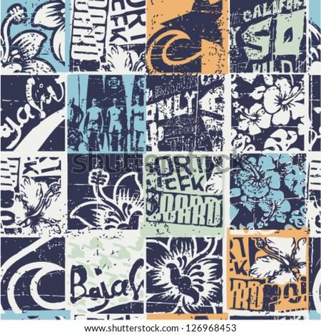 surfing patchwork  grunge