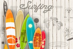 Surfing Poster in Vintage Style for Surf Club or Shop. Surfboards with Different Designs and Sizes. Vector Illustration
