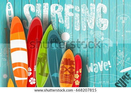 surfing poster in vintage style