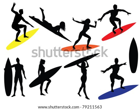 Surfing Silhouettes isolated on white background