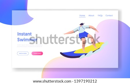 Surfing Sport, Woman Riding Sea Wave at Surf Board Relaxing on Summertime Vacation, Summer Water Leisure Activity, Recreation. Website Landing Page, Web Page. Cartoon Flat Vector Illustration, Banner