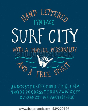 surfing summer font hand made