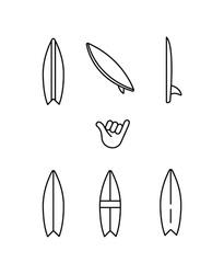 Surfing, surfboard, shaka hand, aloha simple thin line icon set vector illustration