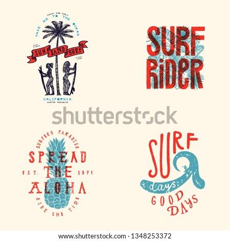 surfing t shirt design set sun