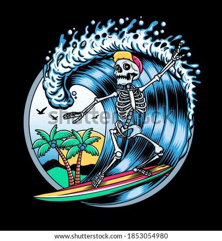 Surfing T-shirt Vector Designs. Vector Logo Illustration with Skeleton Surfer. Vintage Surfing Emblem for web design or print. Surfer logo templates. Surf Badge. Surfboard elements. Сток-фото ©