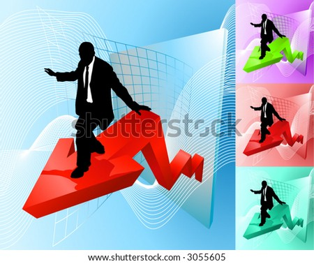 Surfing the profit line. Conceptual piece; business person surfing at the forefront of growth or profit increase