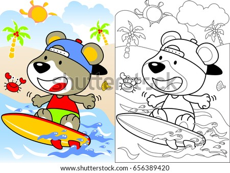 surfing time vector cartoon, coloring book or page
