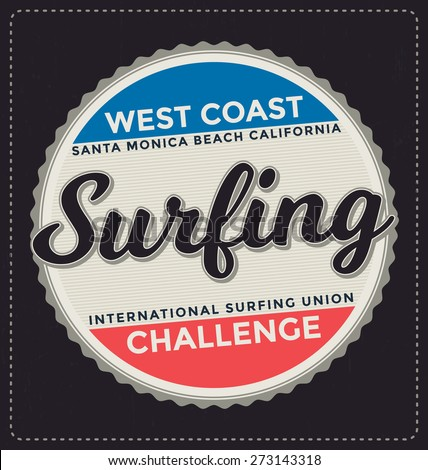 Surfing Typographic Design Classic look ideal for screen print shirt design