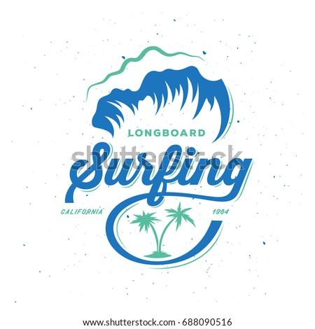 surfing typography print retro