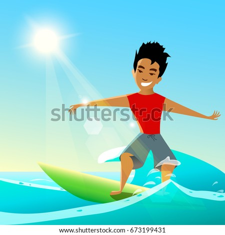 Surfing vector illustration. Young surfer on surfboard.