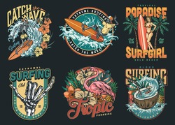 Surfing vintage colorful labels with skeleton surfers pretty woman with surfboard pink flamingo tropical flowers and leaves pineapple man riding wave in coconut isolated vector illustration