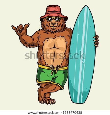 Surfing vintage concept with funny bear in shorts sunglasses panama hat showing shaka sign and standing with surfboard isolated vector illustration