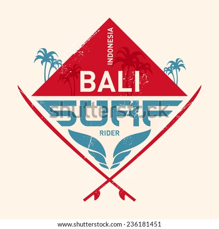 surfing vintage label with