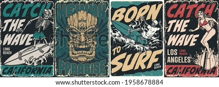 surfing vintage posters